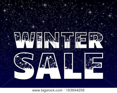winter sale poster concept snowy text on snowy blue background vector illustration