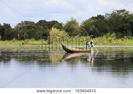 Fisherman Life In Madagascar Countryside On River