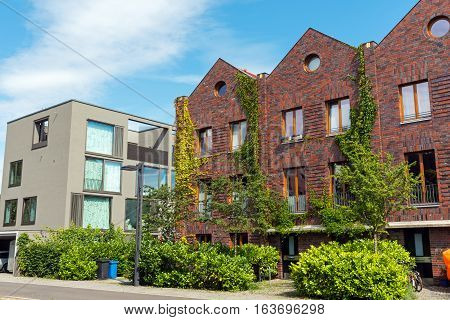 Modern houses made of bricks and concrete seen in Berlin, Germany