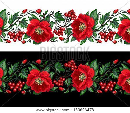 poppies viburnum embroidery for textile design, vector