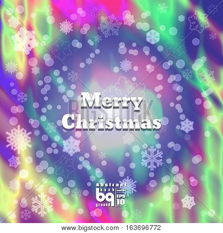 Background snowflakes Merry Christmas multicolored gradient bokeh effect Vector illustration rainbow flash