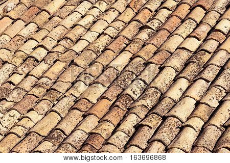 Background from old shingles on a roof in Sicily, Italy