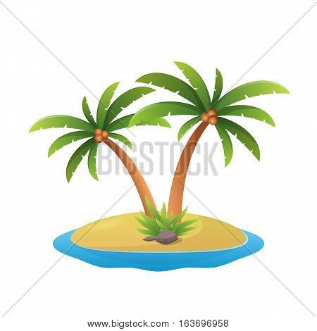 paradise island logo - tropical palm trees on island with sea waves vector illustration isolated white background.