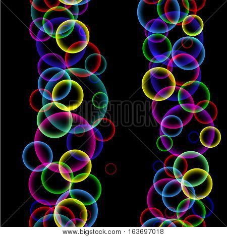 Seamless pattern with vertical stripes of colorful abstract soap bubbles on a black background, vector illustration