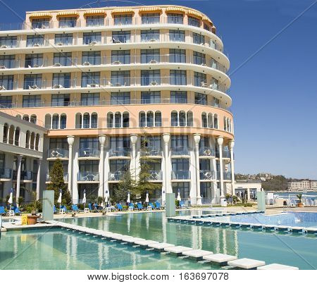 SAINTS CONSTANTINE AND HELENA BULGARIA - APRIL 10 2015: Hotel Azalia in Saints Constantine and Helena the oldest first sea resort of Bulgaria exists from 19 century.