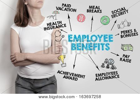 Employee Benefits Concept. Woman on gray background.