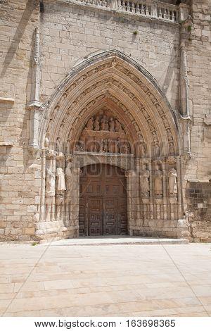 Door Of Church Of St Stephen In Burgos City