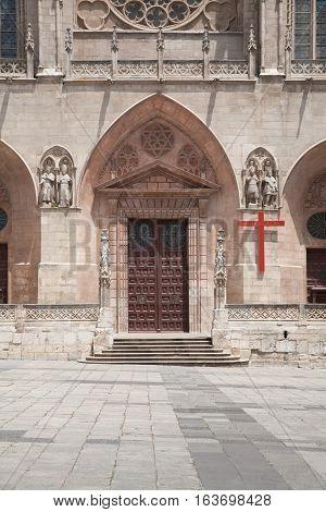 Door Of Santa Maria Cathedral In Burgos Cit