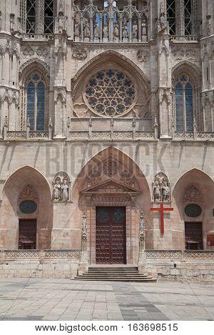 Facade Of Santa Maria Cathedral In Burgos City