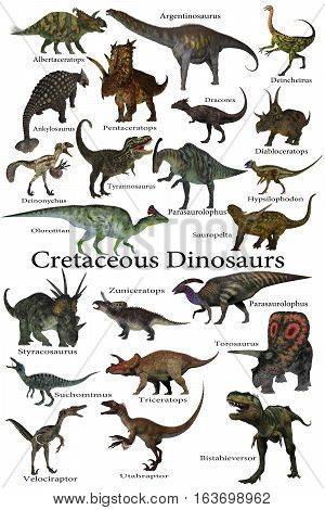Cretaceous Dinosaurs 3D illustration - A collection of various dinosaurs that lived around the world during the Cretaceous Period.