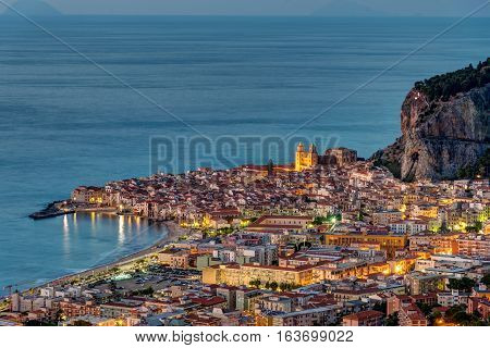 The old town of Cefalu at the north coast of Sicily at dawn