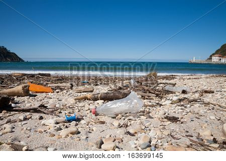 Plastic Bottle And Waste In Beach