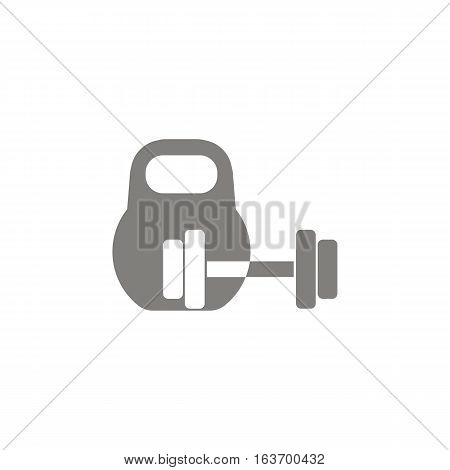 Icon kettlebell and dumbbell. Vector illustration. Sports fitness athletics.