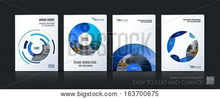 Business vector. Brochure template layout, cover soft design annual report, magazine, flyer in A4 with blue circle, rounds, sphere for PR, business, tech. Abstract art with overlay effect. Mega set
