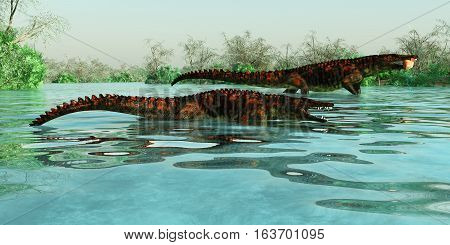 Uberabasuchus Marine Reptiles 3D illustration - Uberabasuchus dinosaur reptiles inhabit a Brazil river catching fish in the Cretaceous Period.