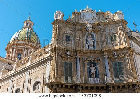 The famous baroque Quattro Canti square in Palermo, Sicily
