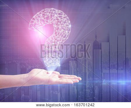 Hand holding abstract polygonal question mark on bright background with chart bars. Business FAQ concept