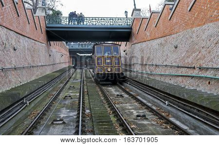 Buda Hill Funicular Or Cable Car. Budapest, Hungary