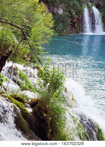 Waterfalls in Plitvice Lakes National Park in Croatia.