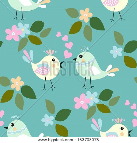 Cute birds seamless pattern with little flower and leaf on a blue background.