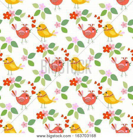 Cute birds seamless pattern with little flowers