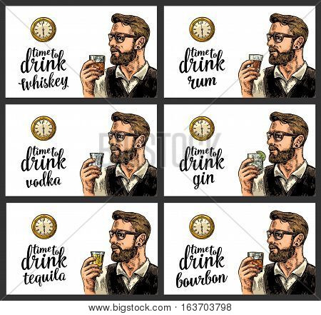 Hipster holding a glasses with alcohol drinks and antique pocket watch. Vintage vector engraving illustration for poster invitation to party. Time to Drink lettering. Isolated on white background.