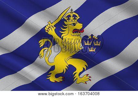Flag of Gothenburg is the second-largest city in Sweden. 3d illustration