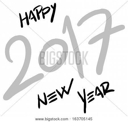 hand written happy new year 2017 - vector illustration