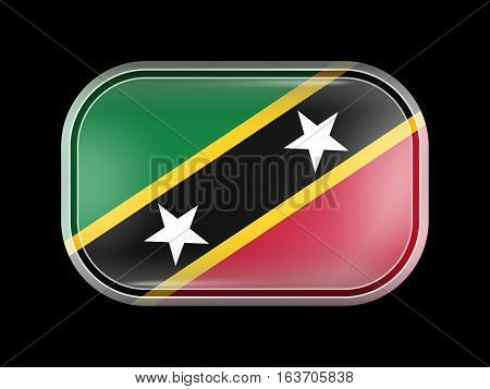 Flag Of Saint Kitts And Nevis. Rectangular Shape With Rounded Corners