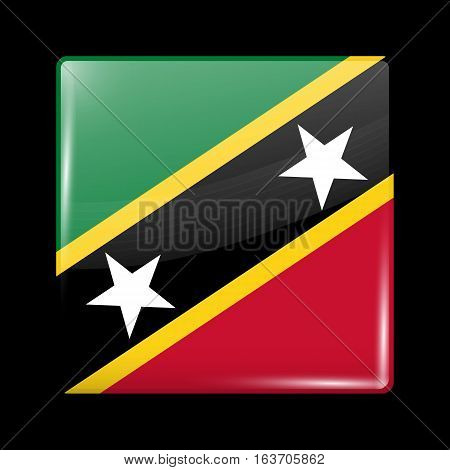 Flag Of Saint Kitts And Nevis. Glossy Icon Square Shape