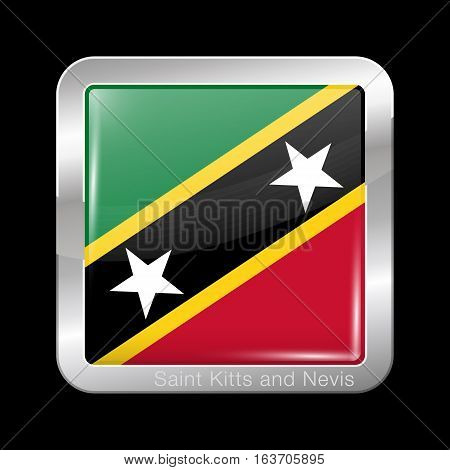 Flag Of Saint Kitts And Nevis. Metal Icon Square Shape