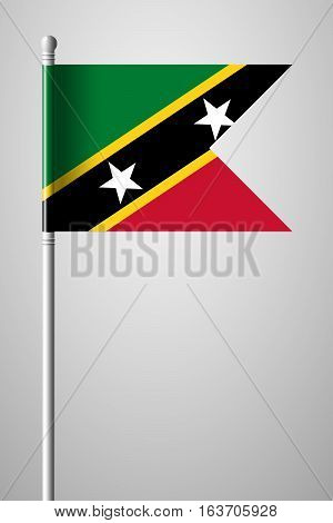 Flag Of Saint Kitts And Nevis. National Flag On Flagpole