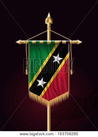 Flag Of Saint Kitts And Nevis. Festive Vertical Banner With Flagpole