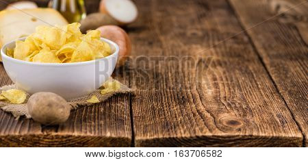 Cheese And Onion Potato Chips (selective Focus) On Vintage Wooden Background