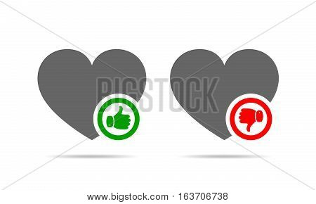Heart with thumb up. Heart with thumb down. Yes and No concept. Vector illustration.