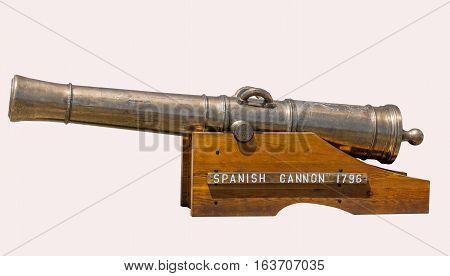 Spanish Cannon 1796 on a white background. 5 June 2015 Ft. Lewis Washington.