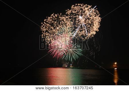 Chicago, Usa. 1St January 2017. Fireworks At Navy Pier To Welcome 2017 To Chicago