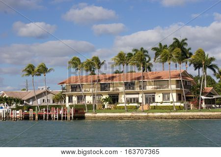 building and palm trees on biscayne bay, miami, florida
