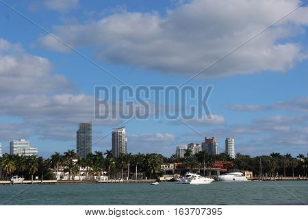 buildings and yachts, biscayne bay, miami, florida