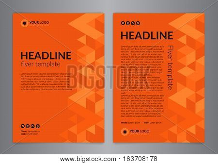 Business brochure flyer design layout template size A4 with triangle pattern. Modern Backgrounds. Vector illustration.