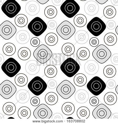 Black grey geometric patter. Vector seamless pattern
