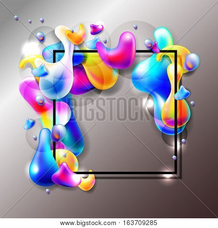 abstract bright colorful plasma drops shapes with a black square frame pattern isolated on metalic background for banner, card, poster, web design, vector illustration collection eps10