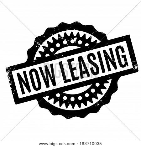 Now Leasing rubber stamp. Grunge design with dust scratches. Effects can be easily removed for a clean, crisp look. Color is easily changed.