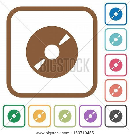 DVD disk simple icons in color rounded square frames on white background
