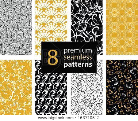 Unique Vector Set of Black, White and Gold Yellow Abstract Trendy Seamless Repeat Patterns. Great For Fabric, Wrappring Paper, Wallpaer, Scrapbooking. Surface pattern design. Textile design.