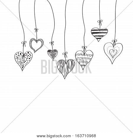 Greeting card with hearts and copy-space on white background