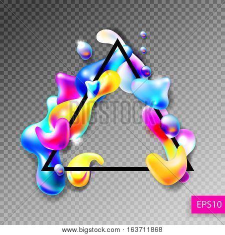 abstract bright colorful plasma drops shapes with a black triangle frame pattern isolated on blue background for banner, card, poster, web design, vector illustration collection eps10