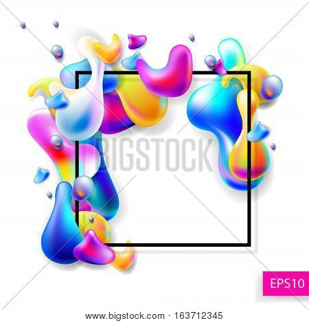 abstract bright colorful plasma drops shapes with a black square frame pattern isolated on white background for banner, card, poster, web design, vector illustration collection eps10