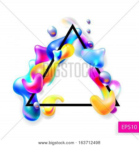 abstract bright colorful plasma drops shapes with a black triangle frame pattern isolated on white background for banner, card, poster, web design, vector illustration collection eps10