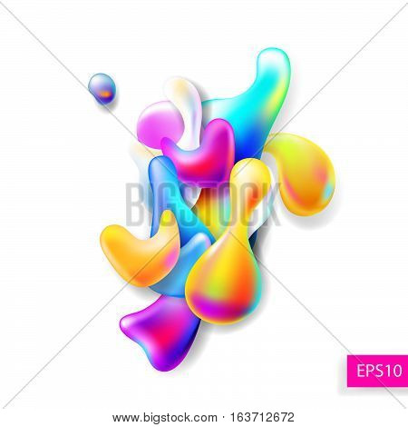 abstract bright colorful plasma drops shapes pattern isolated on white background for banner, card, poster, web design, vector illustration collection eps10